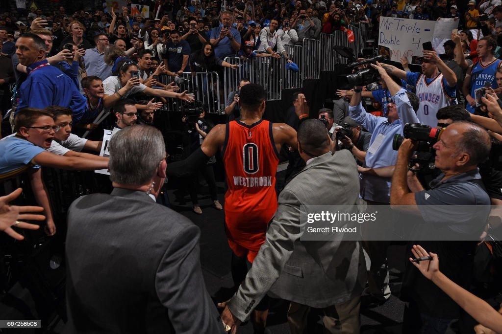 Russell Westbrook #0 of the Oklahoma City Thunder walks off the court after hitting the game winning shot and recording his record breaking 42nd triple-double of the year after the game against the Denver Nuggets on April 9, 2017 at the Pepsi Center in Denver, Colorado.