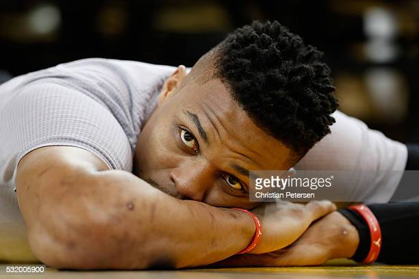 Russell Westbrook of the Oklahoma City Thunder warms up before game one of the NBA Western Conference Finals against the Golden State Warriors at...