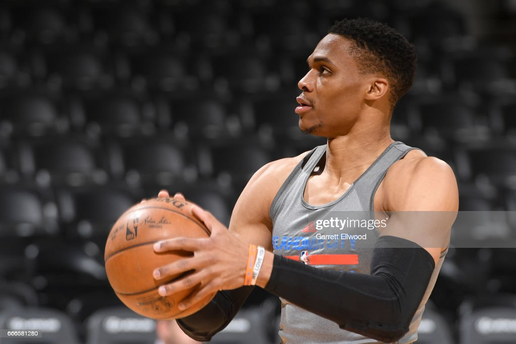 Russell Westbrook #0 of the Oklahoma City Thunder warms up before the game against the Denver Nuggets on April 9, 2017 at the Pepsi Center in Denver, Colorado.