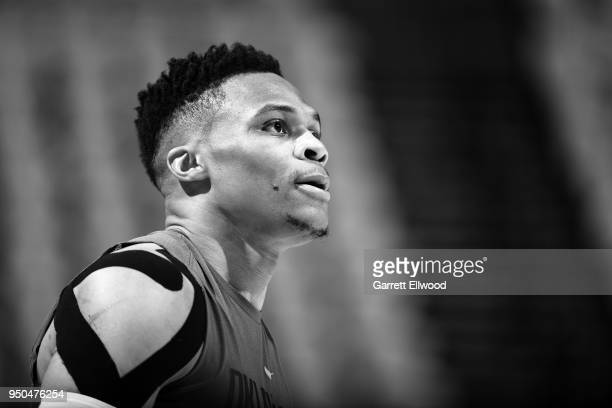 Russell Westbrook of the Oklahoma City Thunder warms up before the game against the Utah Jazz in Game Four of Round One of the 2018 NBA Playoffs on...