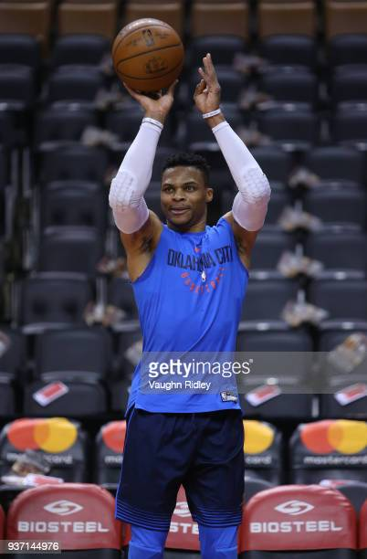 Russell Westbrook of the Oklahoma City Thunder warms up prior to the first half of an NBA game against the Toronto Raptors at Air Canada Centre on...