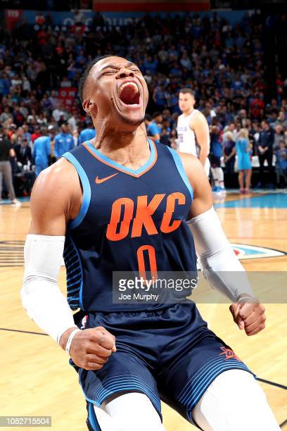 Russell Westbrook of the Oklahoma City Thunder yells against the Sacramento Kings on October 21 2018 at Chesapeake Energy Arena in Oklahoma City...