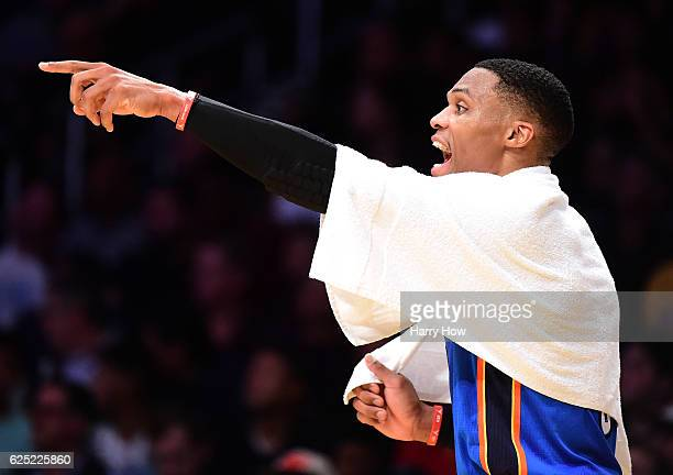 Russell Westbrook of the Oklahoma City Thunder yells from the bench during a 111109 loss to the Los Angeles Lakers at Staples Center on November 22...