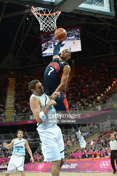 Russell Westbrook of the US Men's Senior National Team dunks against Juan Gutierrez of Argentina during their Basketball Game on Day 10 of the London...