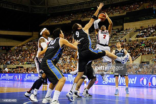 Russell Westbrook of the US Men's Senior National Team shoots towards goal against Juan Pedro Gutierrez of the Argentina Men's Senior National Team...