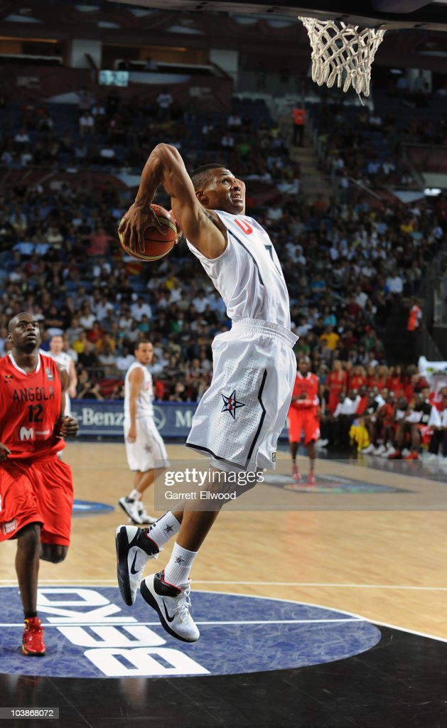 Russell Westbrook #7 of the USA Senior Men's National Team dunks against Angola during the 2010 World Championships of Basketball on September 6, 2010 at the Sinan Erdem Dome in Istanbul, Turkey.