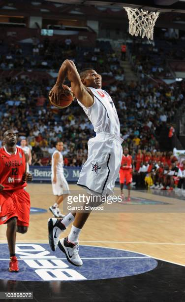 Russell Westbrook of the USA Senior Men's National Team dunks against Angola during the 2010 World Championships of Basketball on September 6, 2010...