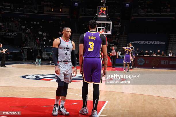 Russell Westbrook of the Washington Wizards and Anthony Davis of the Los Angeles Lakers talk during the game on April 28, 2021 at Capital One Arena...