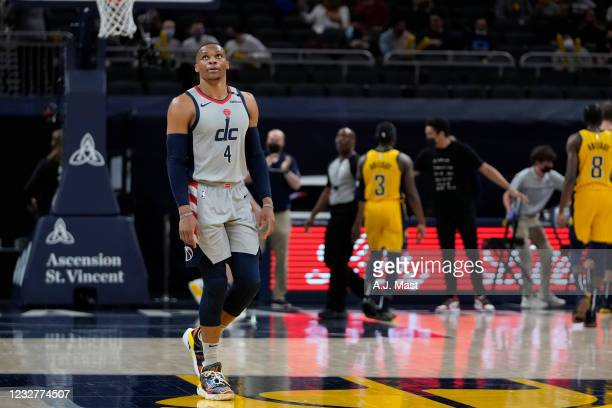 Russell Westbrook of the Washington Wizards looks on after tying Oscar Robertson for most triple doubles of all time during the game against the...