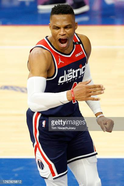 Russell Westbrook of the Washington Wizards reacts following a jump shot during the third quarter against the Philadelphia 76ers at Wells Fargo...