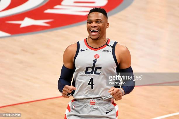Russell Westbrook of the Washington Wizards reacts prior to the game against the Brooklyn Nets at Capital One Arena on January 31, 2021 in...