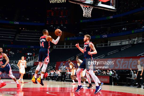 Russell Westbrook of the Washington Wizards rebounds the ball during the game against the Atlanta Hawks to pass Oscar Robertson for the most triple...