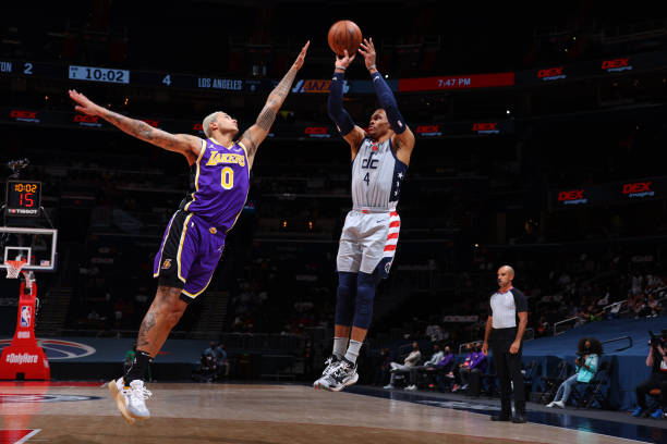 Russell Westbrook of the Washington Wizards shoots the ball during the game against the Los Angeles Lakers on April 28, 2021 at Capital One Arena in...