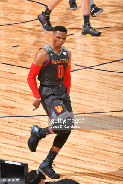 Russell Westbrook of the Western Conference AllStar Team celebrates against the Eastern Conference AllStar Team during the NBA AllStar Game as part...
