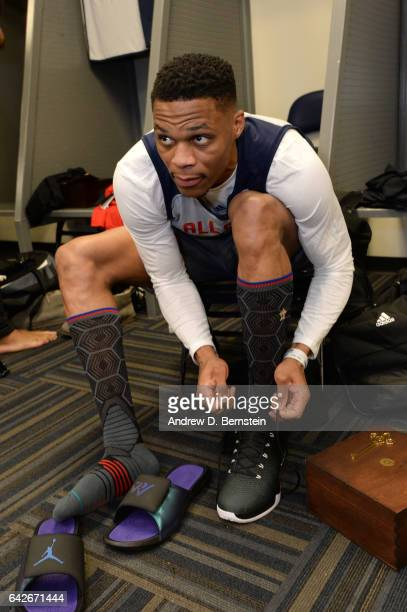 Russell Westbrook of the Western Conference AllStar Team prepares for the 2017 NBA AllStar Practice as part of 2017 AllStar Weekend at the...