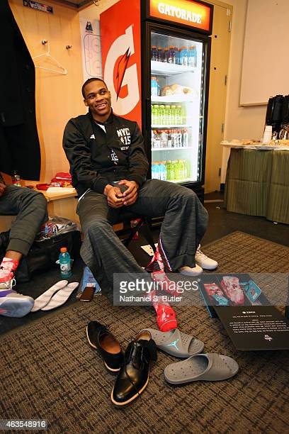 Russell Westbrook of the Western Conference AllStar Team smiles prior to the 64th NBA AllStar Game presented by Kia as part of the 2015 NBA AllStar...