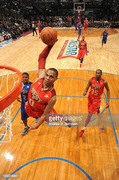 Russell Westbrook of the Western Conference AllStars goes up for a dunk against the Eastern Conference AllStars in the 2011 NBA AllStar Game at...