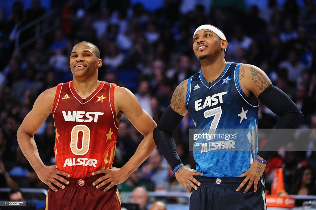 9e2bd9db3 Russell Westbrook of the Western Conference All-Stars jokes with ...
