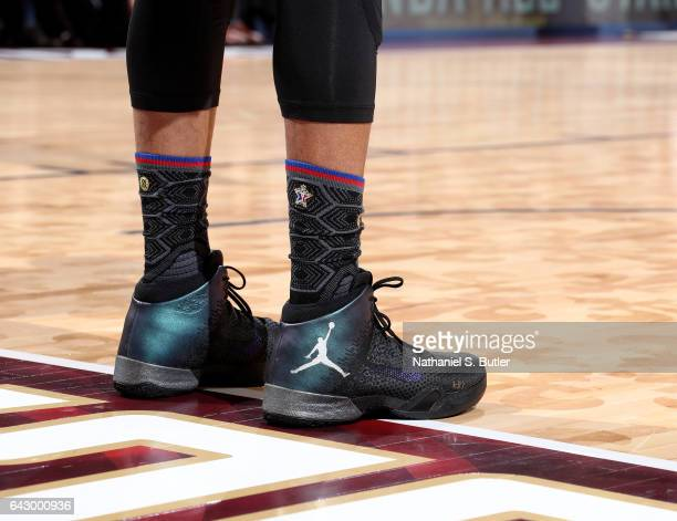Russell Westbrook of the Western Conference AllStars sneakers during the NBA AllStar Game as part of the 2017 NBA All Star Weekend on February 19...