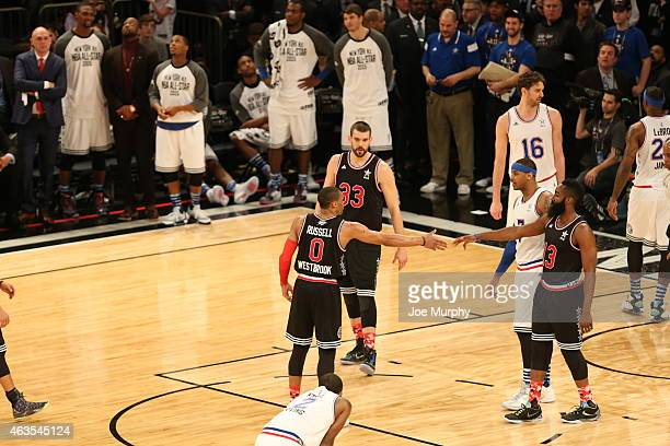 Russell Westbrook of the Western Conference celebrates during the game with teammate James Harden #during the 2015 NBA AllStar Game as part of the...