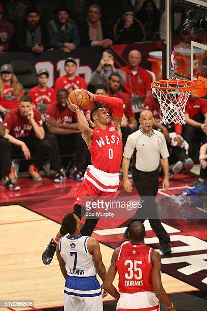 Russell Westbrook of the Western Conference dunks against the Eastern Conference during the 2016 NBA AllStar Game on February 14 2016 at the Air...