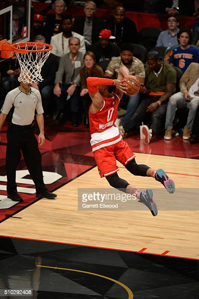 Russell Westbrook of the Western Conference dunks during the 2016 NBA AllStar Game on February 14 2016 at the Air Canada Centre in Toronto Ontario...