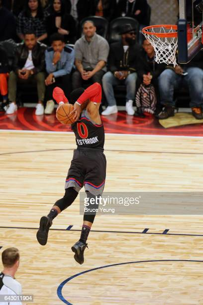 Russell Westbrook of the Western Conference dunks during the NBA AllStar Game as part of the 2017 NBA All Star Weekend on February 19 2017 at the...
