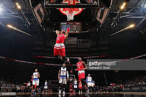 Russell Westbrook of the Western Conference dunks the ball during the NBA AllStar Game as part of 2016 NBA AllStar Weekend on February 14 2016 at the...