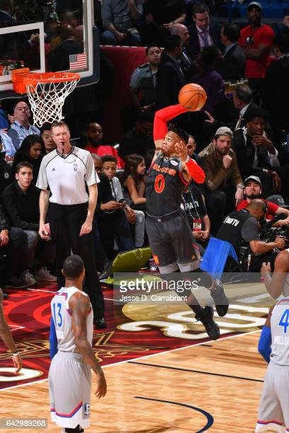 Russell Westbrook of the Western Conference goes up for a dunk during the NBA AllStar Game as part of the 2017 NBA All Star Weekend on February 19...