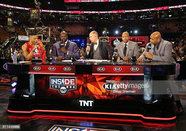 Russell Westbrook of the Western Conference is interviewed following the NBA AllStar Game as part of the 2016 NBA AllStar Weekend on February 14 2016...