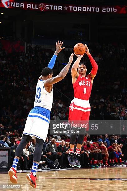 Russell Westbrook of the Western Conference shoots the ball during the NBA AllStar Game as part of 2016 NBA AllStar Weekend on February 14 2016 at...