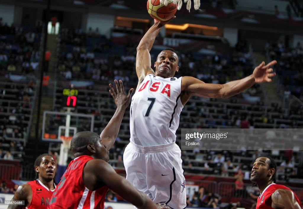 Russell Westbrook of USA at the 2010 World Championships of Basketball during the game between USA vs Angola on September 6, 2010 in Istanbul, Turkey.