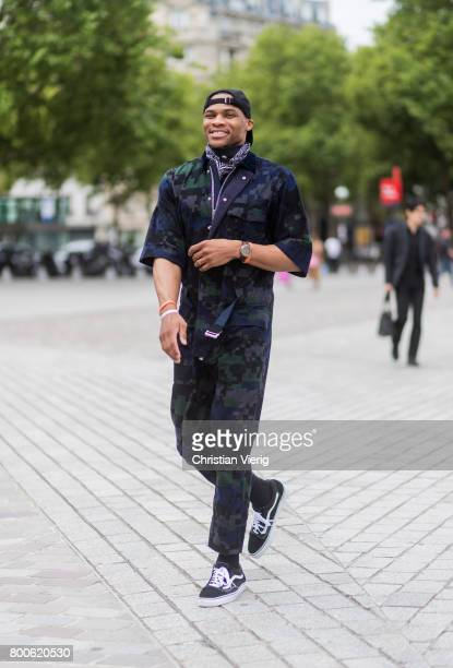 Russell Westbrook outside Sacai during Paris Fashion Week Menswear Spring/Summer 2018 Day Four on June 24 2017 in Paris France