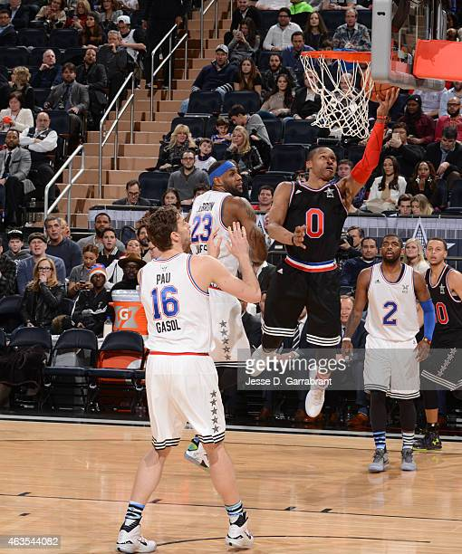 Russell Westbrook playing for the West Coast allstars goes up for the layup during the 2015 NBA AllStar Game at Madison Square Garden on February 15...
