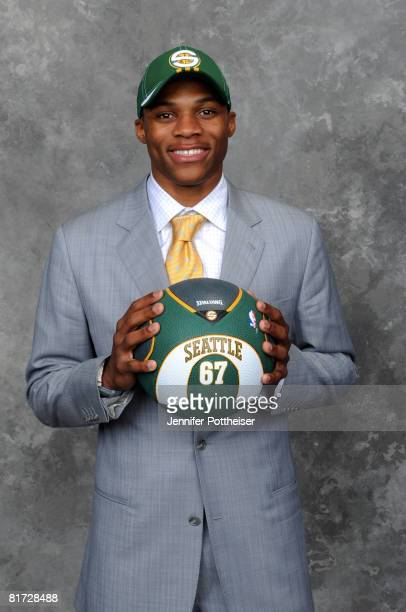Russell Westbrook selected number four overall by the Seattle SuperSonics poses for a portrait backstage during the 2008 NBA Draft on June 26 2008 at...