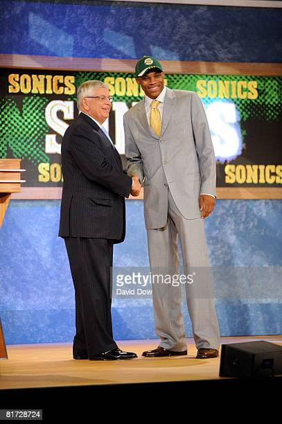 Russell Westbrook shakes Commissioner David Stern's hand after being selected number four overall by the Seattle Supersonics during the 2008 NBA...