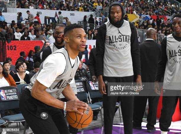 Russell Westbrook takes a shot as Kevin Durant of Team LaBron look on during practice for the 2018 NBA AllStar game at the Verizon Up Arena at LACC...