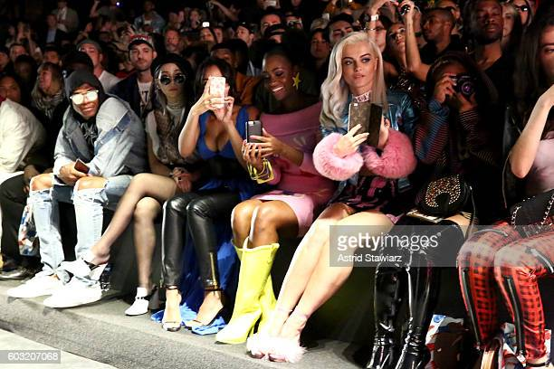 Russell Westbrook Tinashe Teyonah Parris and Bebe Rexha attend the Jeremy Scott fashion show during New York Fashion Week The Shows at The Arc...