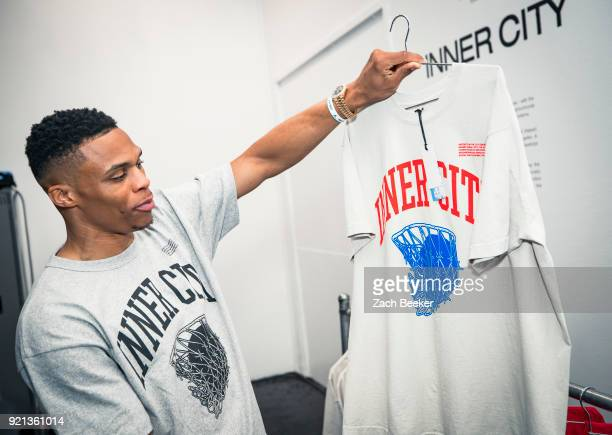 Russell Westbrook visits a popup celebrating the release of the Inner City collection through his Honor the Gift brand in Los Angeles CA NOTE TO USER...