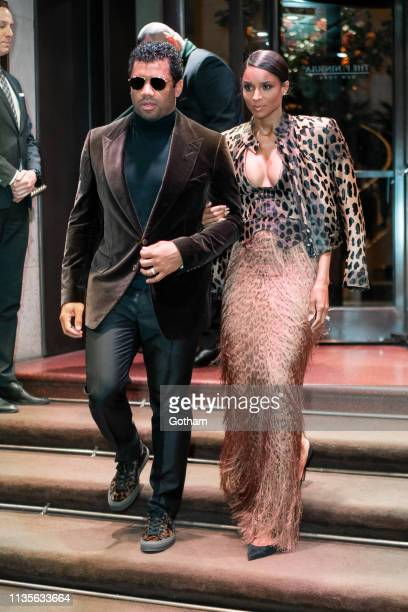 Russell Wilson and Ciara are seen in Midtown on March 13 2019 in New York City