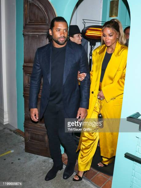 Russell Wilson and Ciara are seen on February 09, 2020 in Los Angeles, California.