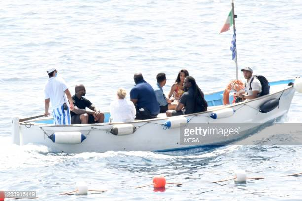 Russell Wilson and Ciara are seen out and about on July 8, 2021 in Capri, Italy.