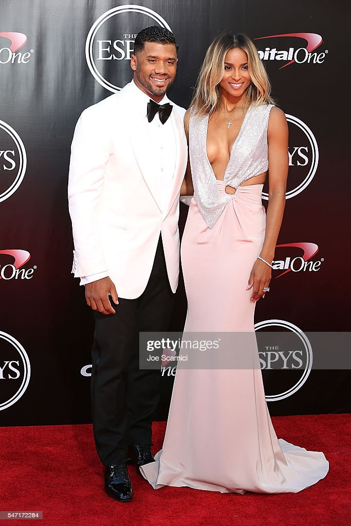Russell Wilson and Ciara arrive at The 2016 ESPYS at Microsoft Theater on July 13, 2016 in Los Angeles, California.