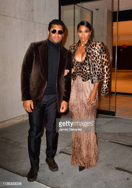Russell Wilson and Ciara arrive to a private dinner at 15 Hudson Yards on March 13 2019 in New York City