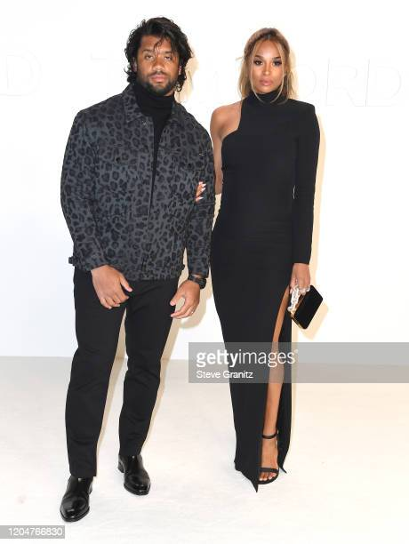 Russell Wilson and Ciara arrives at the Tom Ford AW20 Show at Milk Studios on February 07, 2020 in Hollywood, California.