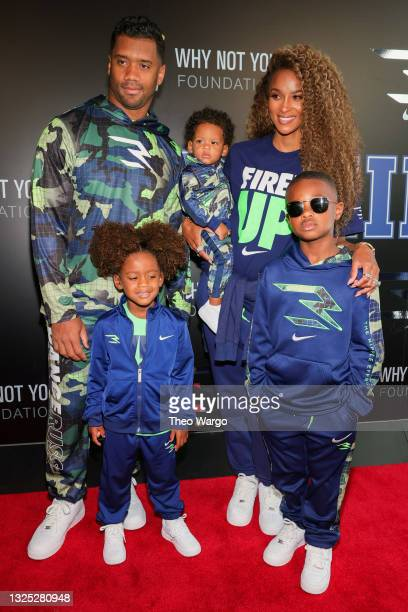 Russell Wilson and Ciara attend as Russell Wilson & Ciara Launch 3Brand At Rookie USA Flagship on June 24, 2021 in New York City.