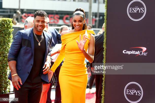 Russell Wilson and Ciara attend the 2018 ESPYS at Microsoft Theater on July 18 2018 in Los Angeles California