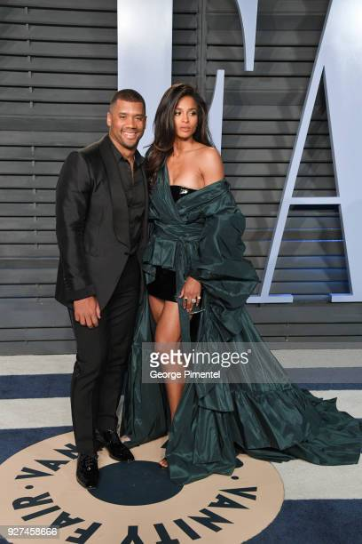 Russell Wilson and Ciara attend the 2018 Vanity Fair Oscar Party hosted by Radhika Jones at Wallis Annenberg Center for the Performing Arts on March...