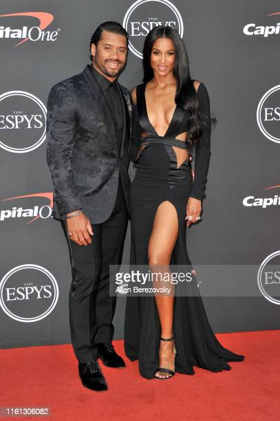 Russell Wilson and Ciara attend the 2019 ESPY Awards at Microsoft Theater on July 10 2019 in Los Angeles California