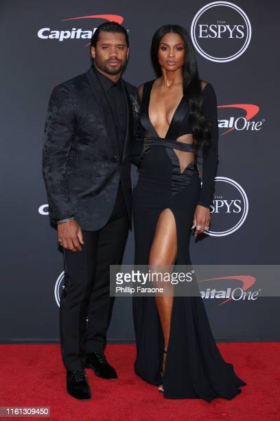 Russell Wilson and Ciara attend The 2019 ESPYs at Microsoft Theater on July 10 2019 in Los Angeles California